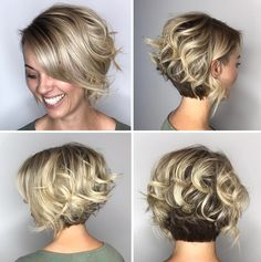 Two-Tone Curly Bob With Nape Undercut wavy hair 100 Mind-Blowing Short Hairstyles for Fine Hair Undercut Curly Hair, Thick Curly Hair, Thin Hair Haircuts, Curly Bob Hairstyles, Short Hair Cuts, Nape Undercut, Curly Hair Styles, Curly Blonde, Short Stacked Haircuts