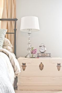 """DIY Inspiration - Painted Trunk Transformation - Using a """"Mistinted"""" Paint. Great idea for a bedside table. Old Trunks, Vintage Trunks, Trunks And Chests, Painted Trunk, Painted Furniture, Diy Furniture, Home Bedroom, Bedroom Decor, Bedrooms"""