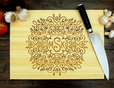 Personalized Cutting Board (Pictured in Natural), approx. 12 x 16 inches, Hand Drawn Wreath Monogram - Wedding gift, Anniversary gift Custom Cutting Boards, Engraved Cutting Board, Personalized Cutting Board, Bamboo Cutting Board, Engraved Wedding Gifts, Custom Wedding Gifts, Personalized Wedding, Wedding Favors, Wedding Decor
