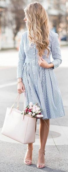 #summer #casualchic #outfits | Blue Pinstripe Dress