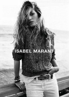 forthosewhocravefashion:  Gisele Bündchen poses for an Isabel Marant Ad Campaign