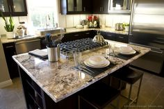 #Kitchen Idea of the Day: Countertops and backsplashes make a profound impact on kitchen color schemes.