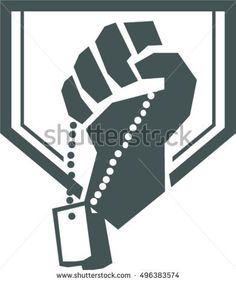 Illustration of a hand of a soldier clutching holding dogtag viewed from front set inside shield crest with stars and the word text Warrior done in retro style. Retro Vector, Military Art, Retro Style, Memorial Day, Dog Tags, Retro Fashion, Retro Illustrations, Royalty Free Stock Photos, Vector Stock