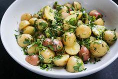 summery potato salad with lemon and herbs