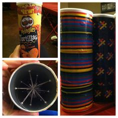 Making rain sticks with Pringles cans and nails colorful duct tape and dried beans, corn, rice