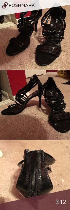 Beautiful & comfortable stripped high heels Sassy black high heel sandals! Just like new! Super trendy! It goes with any outfit *next day guaranteed shipping | depending on the time > same day shipping* Shoes Heels