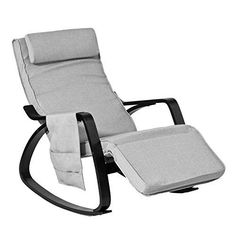 SoBuy® New Relax Rocking Chair Lounge Chair with Adjustable Footrest and Removable Side Bag, FST20-HG