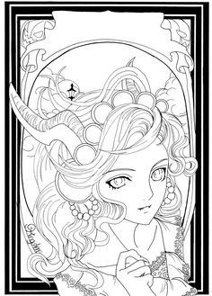 Autumn - Halloween by King-Anne on deviantART   *   Coloring pages colouring adult detailed advanced printable Kleuren voor volwassenen coloriage pour adulte anti-stress kleurplaat voor volwassenen Line Art Black and White