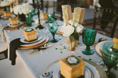 Emerald Green & Gold Engagement Party