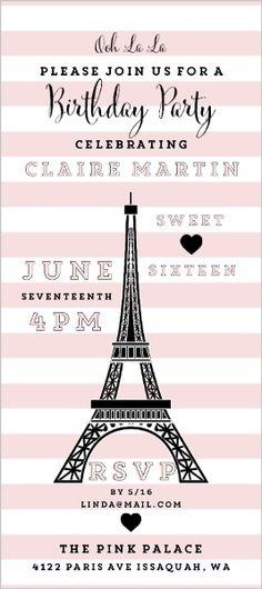Whimsical Eiffel Tower Sweet Sixteen Invitation