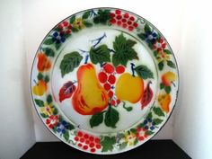 "Large Vintage 18"" Enamelware Platter Fruit Motif Enamel Ware Serving Tray $26.50"