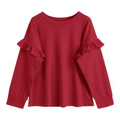 Crew Neck Ruffles Top (1,950 INR) ❤ liked on Polyvore featuring tops, sweaters, red ruffle top, red top, red crew neck sweater, ruffle top and flutter-sleeve tops