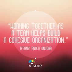 """""""Working together as a team helps build a cohesive organization"""" - Ifeanyi Enoch Onuoha Organization Quotes #TeamWork #Startup"""