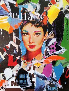 Umberto Alizzi Colazione da Tiffany Audrey Hepburn décollage vintage movie poster pop art my fair lady Sabrina collage