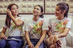 "These are the three queens: Nadine Lustre, Kathryn Bernardo, and Liza Soberano smiling for the camera and sharing a laugh while getting themselves ready for the taping and recording of the 2015 ABS-CBN Christmas station ID theme song, ""Thank You for the Love!"" These girls are having a good time during the recording. #NadineLustre #KathrynBernardo #LizaSoberano #AteHopie #ThankYoufortheLove #ABSCBNChristmasStationID"