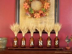 holiday, thanksgiving crafts, thanksgiving decorations, fall decorations, beer bottles, wine bottles, project ideas, mason jars, mantl