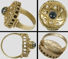 A gold ring with pearls and a green sapphire .Designed ring from the posessions of Heinrich IV can be found in the collection of the Diozösanmuseum Speyer, Germany 11th-12th century.