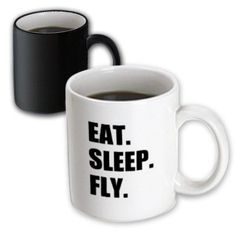 3dRose Eat Sleep Fly - fun gifts for pilots flight crew and frequent flyers, Magic Transforming Mug, 11oz