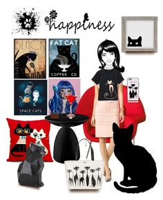 """""""Happiness is Where the Cat Is"""" by rehtaeh69 ❤ liked on Polyvore featuring Empire Art Direct, Urban Outfitters, Knoll, Moschino Cheap & Chic, PyroPet, Kate Spade and Cost Plus World Market"""