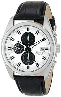 b70391829b1 Kenneth Cole New York Men s KC8041 Dress Sport Round Chronograph Black  Strap Analog Watch Review New