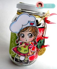 Silvia Scrap: Reto # 30 en Zuri Artsy Craftsy. Alterar una botella o frasco Digi: Elba de Zuri Digital Stamps