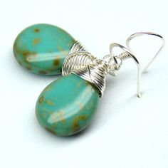 Turquoise Wire WrappedSterling Silver Earrings by martaky on Etsy, $24.00