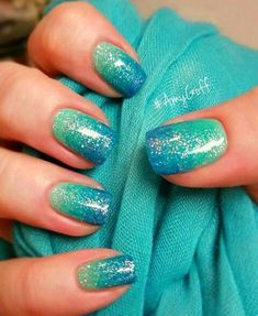 25 Cute Summer Nail Designs for 2019 These trendy Nails ideas would gain you ama beauty nails & hair Cute Summer Nail Designs, Cute Summer Nails, Cute Nails, Nail Summer, Summer Design, Teal Nails, Neutral Nails, My Nails, Blue Nails With Glitter