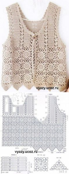 An ideal crochet bag model for the summer. We present you with beautiful crochet bag models made by the ingenious housewives. Gilet Crochet, Crochet Vest Pattern, Crochet Jacket, Crochet Diagram, Crochet Cardigan, Crochet Shawl, Crochet Stitches, Crochet Top, Crochet Patterns