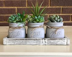 Farmhouse Decor, Artificial Succulent Planter, Mason Jar Decor, Farmhouse Table, Country Decor, Faux Succulents, Mason Jar Gifts,