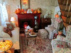 Beautiful country cottage style living room by Kathleen Holmes, featuring yummy pie by Kim Saulter -- amazing, it looks so real!