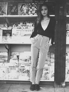 Lera wearing the Black & White Stripes High Waist Pleated Pant by #AmericanApparel #stripes