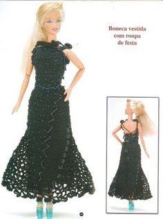 Black evening dress for Barbie woth diagram - tejidos para muñecas