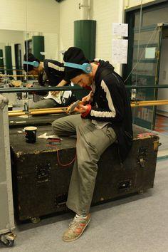 Josh Klinghoffer with a blue headphones