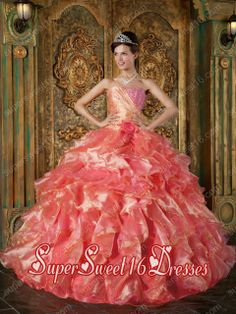 Organza Ruffles Ball Gown Strapless Beading Sweet Fifteen Dress with Hand Made Flower in Multi-colour
