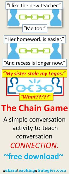 Download, print and cut out simple chain pictures to create this activity to help teach conversation coherence to children with Asperger's and other autism spectrum disorders. The blog post includes a youtube video demonstration.