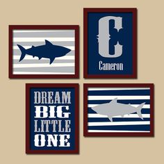 SHARKS Boy Wall Art Baby Boy Nursery Wall Art Nautical Boy Bedroom Ocean Child Navy Blue Gray Monogram Alphabet Set of 4 Canvas or Prints