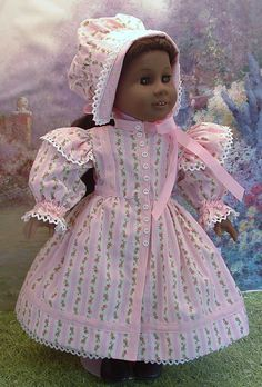 Pink Roses 1850's Day Dress for Addy, Cecile, Marie Grace, Kirsten
