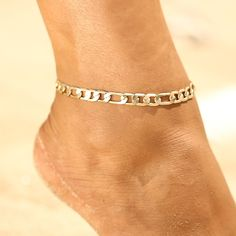 Buy Summer Holiday Beach Gold/Silver Anklet Chain Classics Punk Ankle Bracelet Fashion Vintage Foot Chain Ankle Accessories at Wish - Shopping Made Fun Silver Anklets, Beaded Anklets, Gold Anklet, Fashion Bracelets, Fashion Jewelry, Women Jewelry, Style Fashion, Fashion Accessories, Purple Jewelry