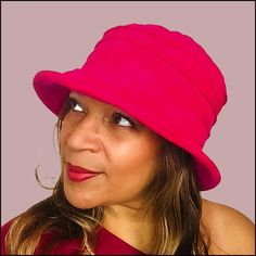 Chic fashion for stylish ladies who like a vintage vibe - this showerproof cloche hat is handmade in a soft velvet like fabric - perfect for chilly damp weather, but so smart and stylish that you don't need to save it just for when the rain comes down!•Handmade in soft suedette with three pretty pleats, it can be worn as a casual warmer - or dressed up with a special trim too!•And the vibrant cerise pink will brighten up any dreary winter day!•Handmade in the UK, the hat is fully adjustable… English Hats, Black Winter Coat, Cerise Pink, Winter Chic, Velvet Fashion, Tall Women, Rain Wear, Looking Stunning, Hats For Women
