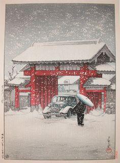 Kawase Hasui (1883-1957) Daimon Gate, Shiba in snow