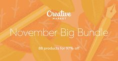 Check out November Big Bundle on Creative Market, blog themes, fonts, pictures, social media packs, everything you need to start a blog, affiliate link