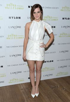 Pin for Later: 30 Stylish Reasons to Celebrate Emma Watson Emma Watson in White Brood Look at 2012 The Perks of Being a Wallflower NYC Screening