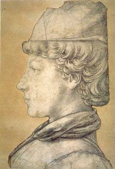 Piero del Pollaiolo Ritratto di un giovane uomo (recto); Un piede destro e un carro trionfale frammentario (?) (verso), 1470-1475 circa