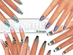 Fantastic new nails pack,some with glitter ^^^ Found in TSR Category 'Sims 4 Female Rings' Source: Pinkzombiecupcakes' Winter Aztec Nails Pack 02 Sims 4 Teen, Sims Four, My Sims, Sims Cc, Sims 4 Nails, Cc Nails, Jamberry Nails, Aztec Nails, Chevron Nails