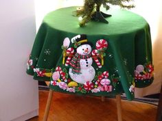 Finished - Bucilla Christmas Tree Skirt Or Table Cloth - Candy Snowman Christmas Sewing, Christmas Candy, Christmas Crafts, Christmas Decorations, Felt Christmas Stockings, Felt Stocking, Christmas Makes, Christmas Time, Felt Crafts