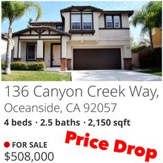 Oceanside, 4 bedroom, 2.5 baths, single family home for sale. Located in a gated community with basketball court, pool, and putting green.