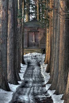 Path to prayer, Hachimantai in Iwate, Japan
