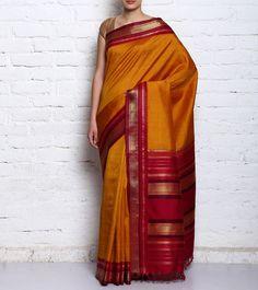 Mustard & Maroon Pure Kanjivaram Silk Zari Work Saree #indianroots #ethnicwear #saree #silk #kanjivaram #zariwork