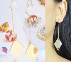 Stylist Geometric Rhombus Clip-On Earrings |20j| Gold Chain Diamond Shaped Clip on dangle Earrings Drop Clip on earrings Non Pierced earring