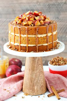 Caramel Apple Pecan Layer Cake has layers of moist apple spice cake sprinkled with pecans, caramel frosting, cinnamon apples & more caramel drizzled on top! Cupcakes, Cupcake Cakes, Caramel Apples, Cinnamon Apples, Apple Caramel, Apple Spice Cake, Apple Cake, Cake Recipes, Dessert Recipes